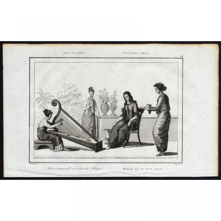 Jeune Demoiselle touchant la Harpe - 46, Dilly, ile Timor - Rienzi (1836)