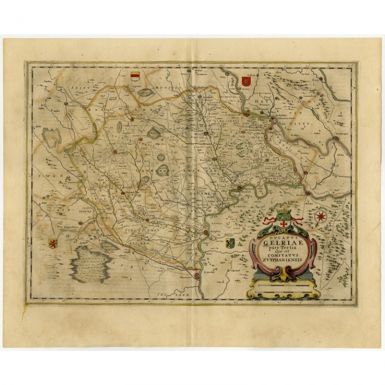 Antique Map of the Region of Zutphen by Janssonius (1647)