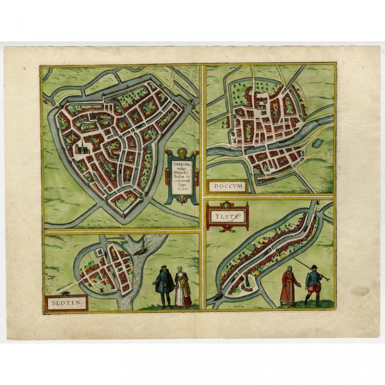 Antique Map of Sneek, Dokkum, Sloten and IJlst by Hogenberg (c.1572)