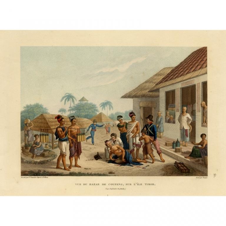 Vue du Bazar de Coupang, Sur l'Ile Timor - Pomel (1825)
