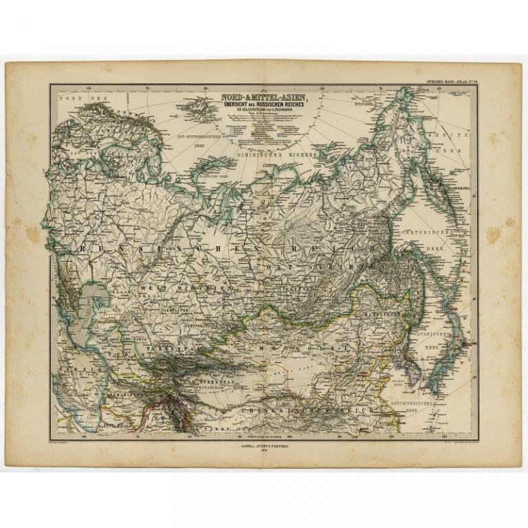 Antique Map of Russia and surroundings by Stieler (1874)