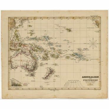 Australien und Polynesien in Mercators Projection - Stieler (1856)