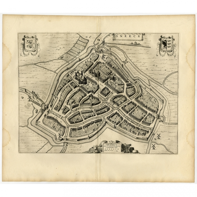 Antique Map of the City of Sneek by Blaeu (1652)
