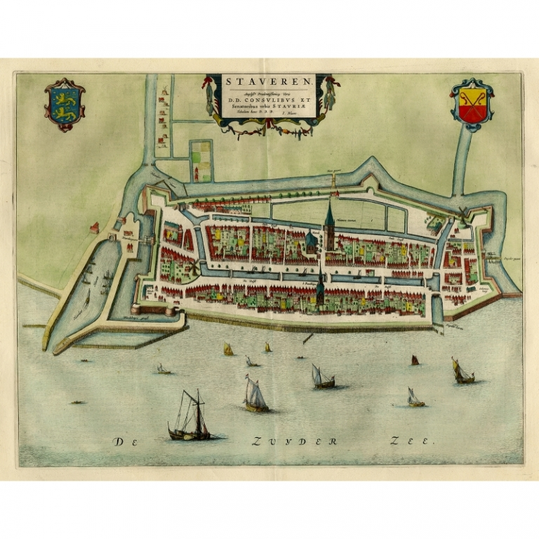 Antique Map of Stavoren by Blaeu (1649)