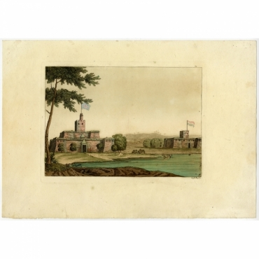Untitled Print of a coastal view with two forts - Rossins (1827)