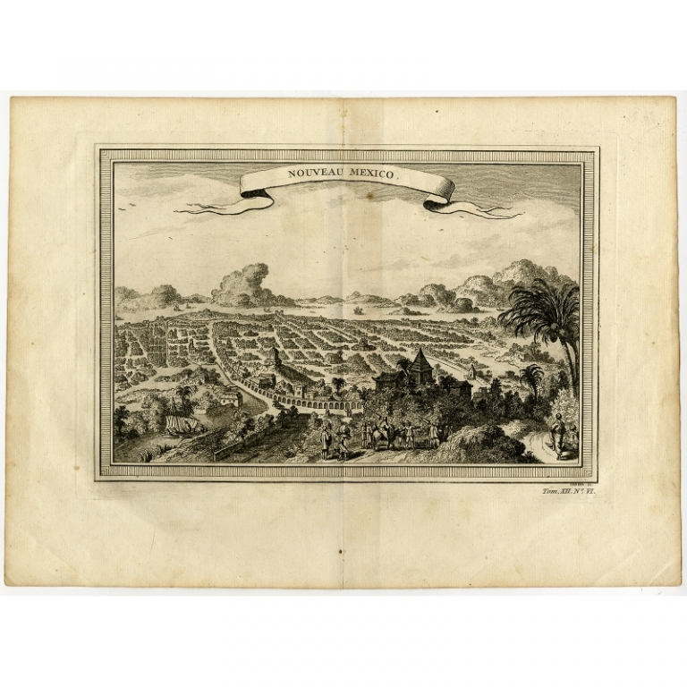 Antique Print of Mexico City by Chedel (1754)