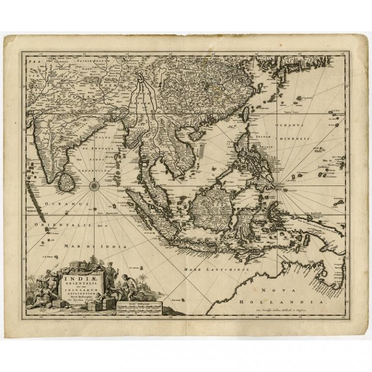 Antique Map of Southeast Asia by Visscher (c.1670)