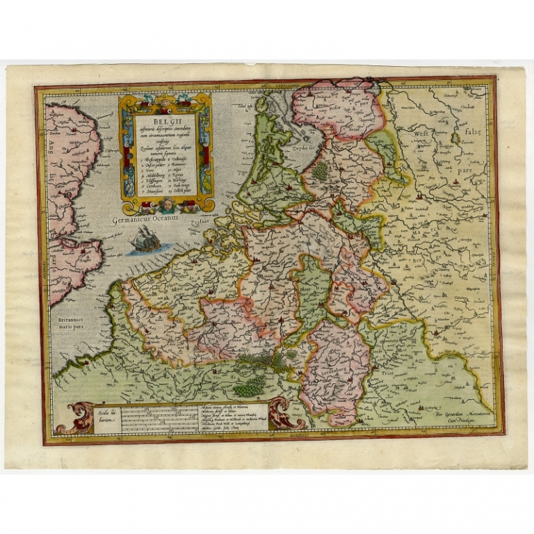 Antique Map of the Seventeen Provinces by Mercator (1606)