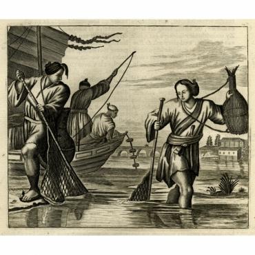 Untitled Print of Japanese fishermen - Montanus (1669)