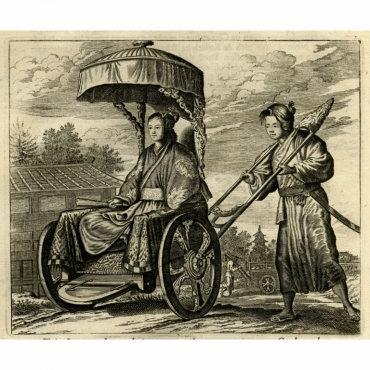Untitled Print of a Japanese noblewoman transported in a rickshaw - Montanus (1669)