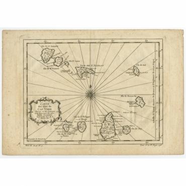 Carte Des Isles Du Cap Verd - Bellin (c.1750)
