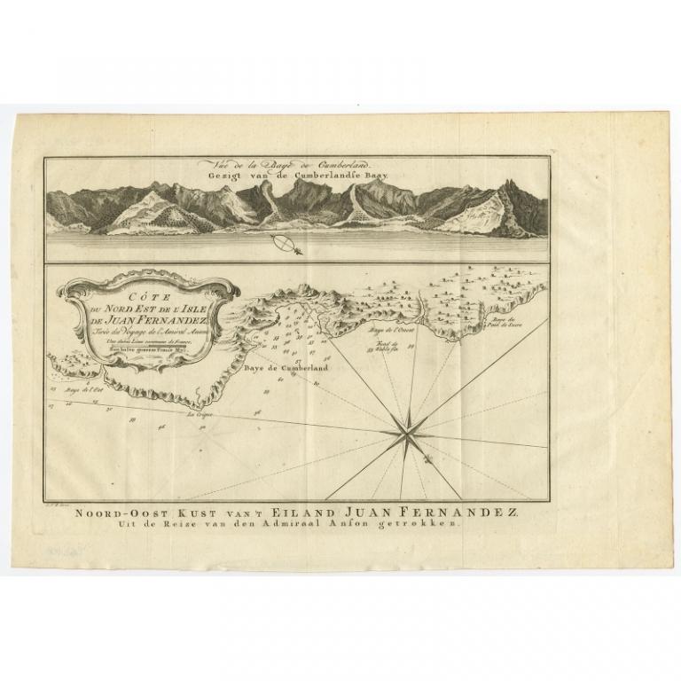 Antique Map of the Coast of Juan Fernandez by Van Schley (1757)