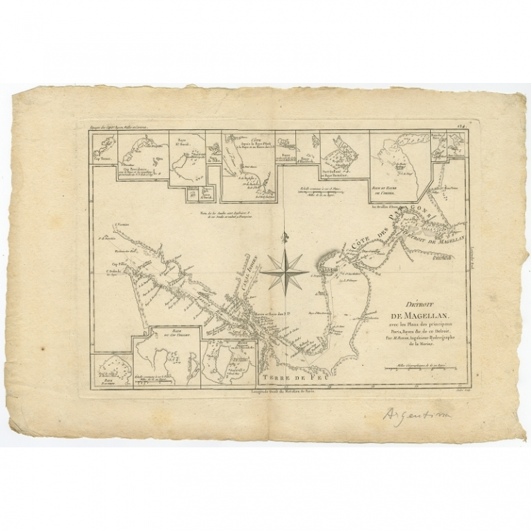 Antique Map of the Strait of Magellan by Bonne (c.1780)