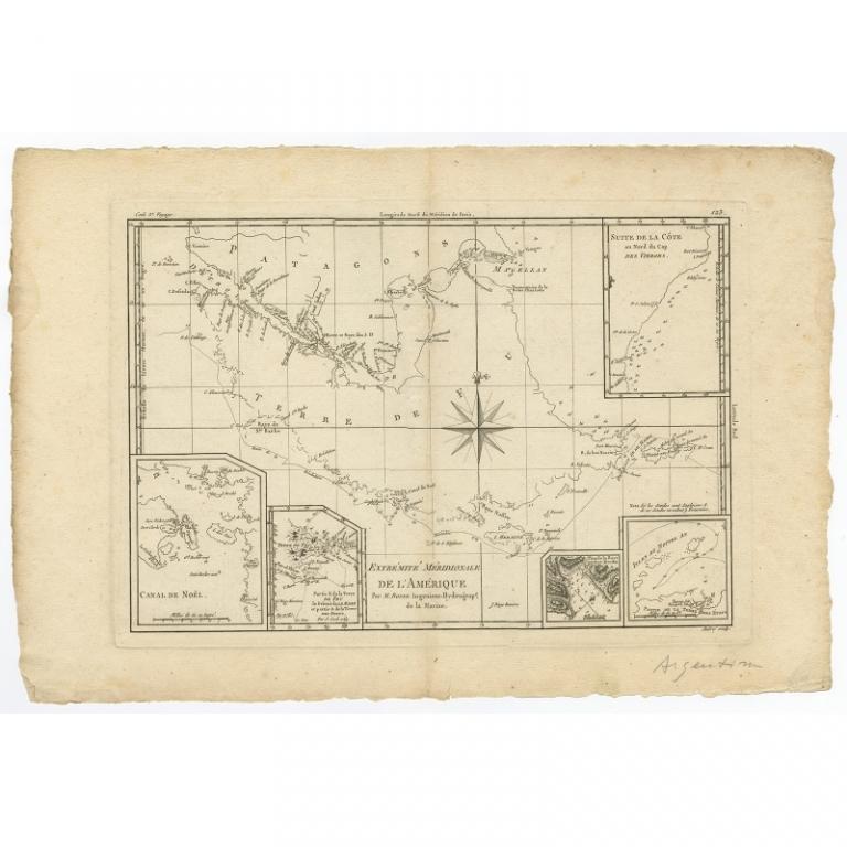Antique Map of Tierra del Fuego by Bonne (c.1780)