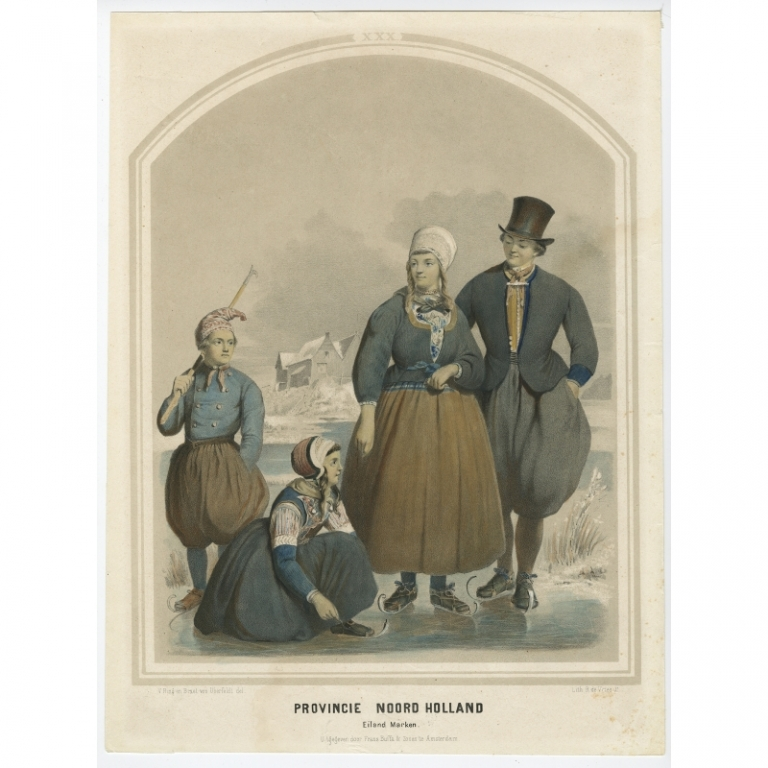 Antique Costume Print of the Province of Noord-Holland (Marken) by Uberfeldt (1857)