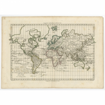 Carte Reduite des Terres et des Mers du Globe Terrestre - Perrier (1782)