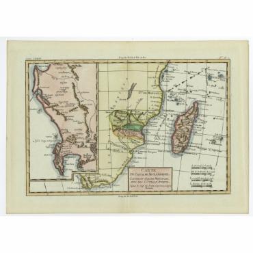 Carte Du Canal De Mozambique - Bonne (1780)