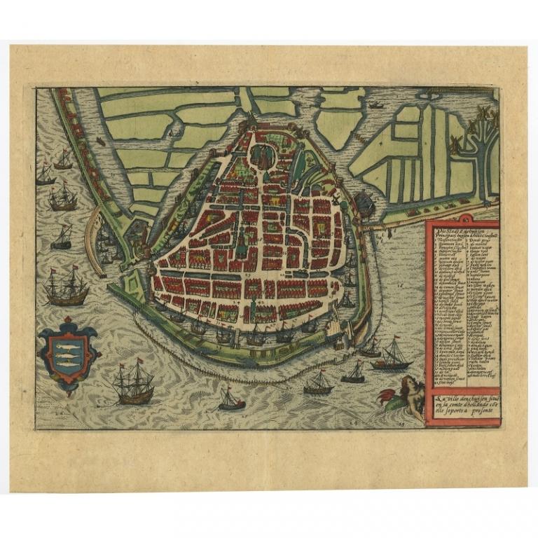 Antique Map of Enkhuizen by Guicciardini (c.1620)