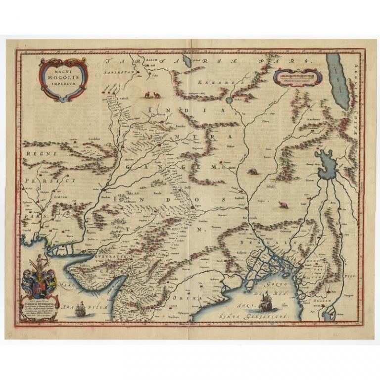 Blaeu World Map.Magni Mogolis Imperium Blaeu C 1650