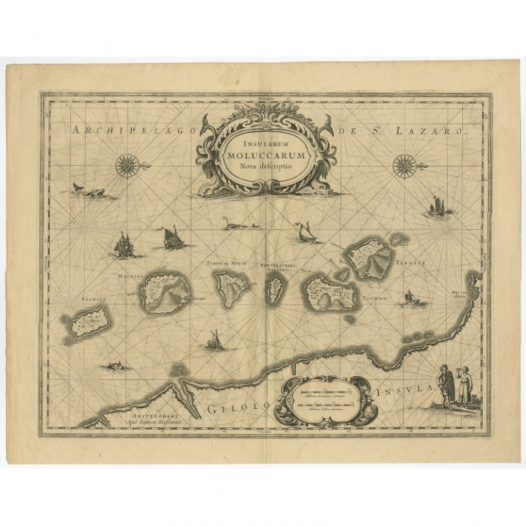Antique Map of the Moluccas by Janssonius (c.1650)