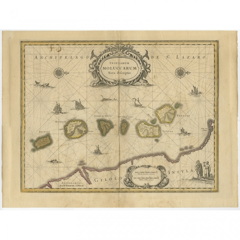 Antique Map of the Moluccas by Schenk (c.1730)