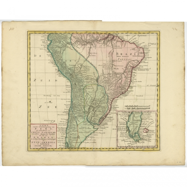 Antique Map of South America by Tirion (c.1765)