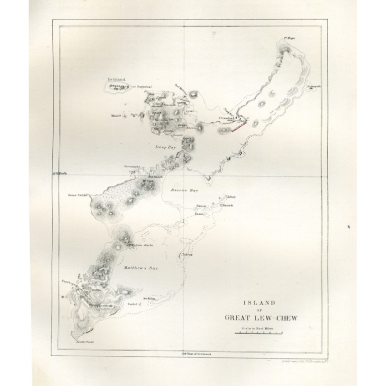 Antique Map of Okinawa by Ackerman (1857)