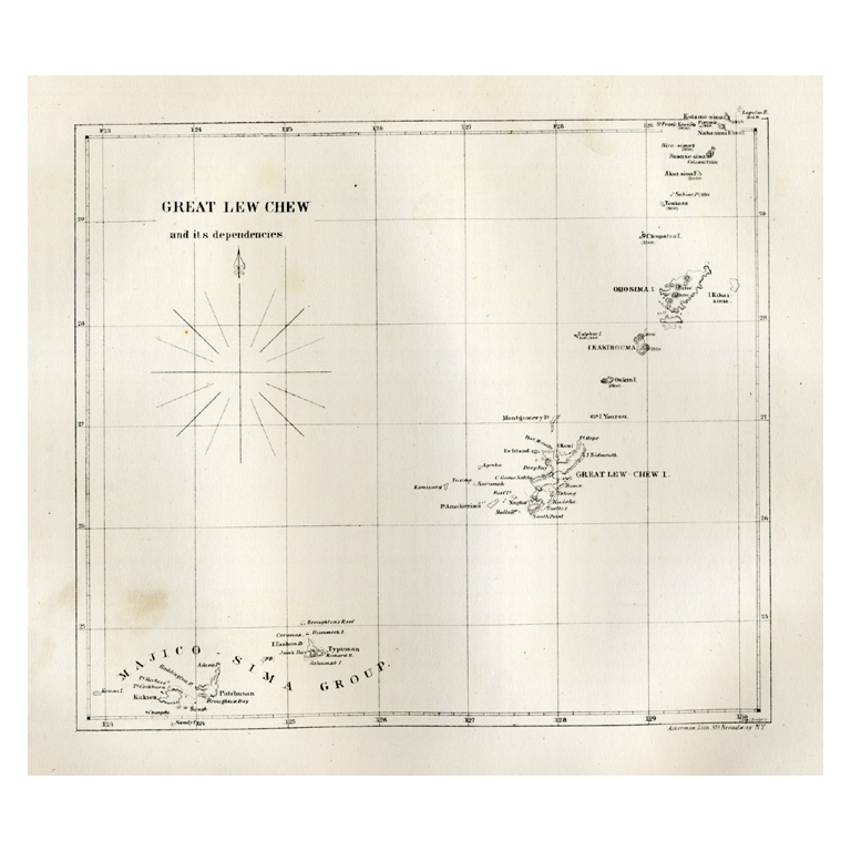 Antique Map of the Great Lew Chew Island by Hawks (1857)