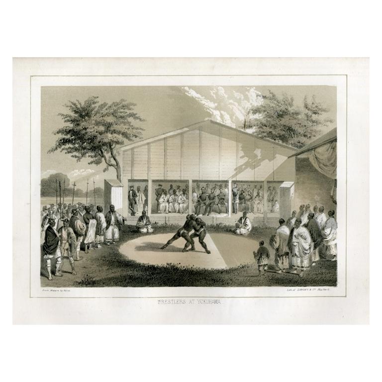 Antique Print of Wrestlers at Yokohama by Hawks (1856)