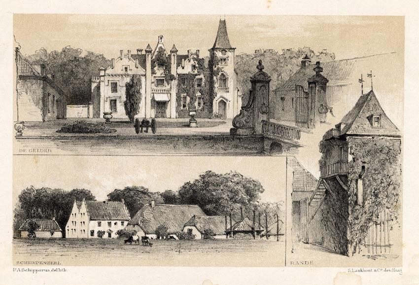 Antique Print of Wijhe Scherpenzeel and Castle Oud Rande by Craandijk