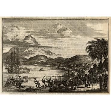 Twee schepen voor Palimban door de Indianen bespongen (..) - Schouten (1708)