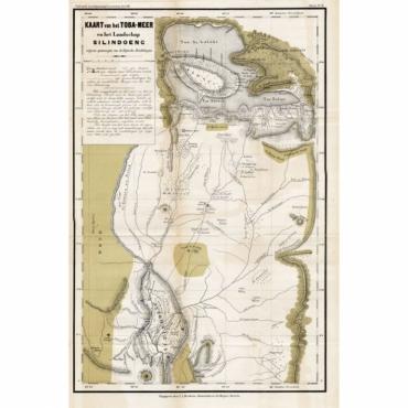 Kaart van het Toba-Meer en het landschap Silindoeng - Stemler (1875)