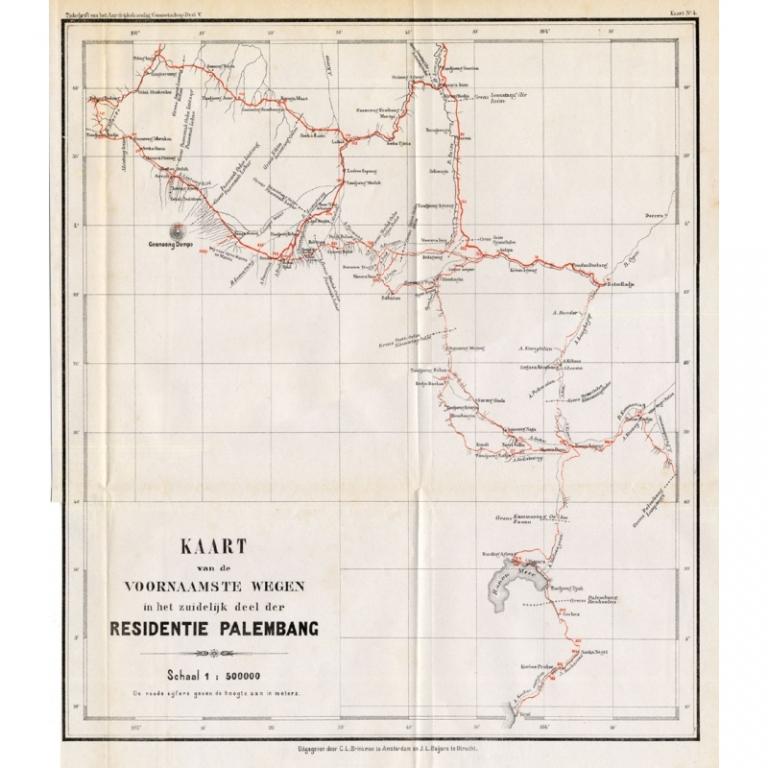 Kaart van de voornaamste wegen in het zuidelijke deel der Residentie Palembang - Stemler (1875)