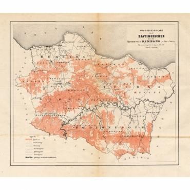Overzichtskaart van de Djatibosschen in de Residentie Rembang, Java - Stemler (1875)