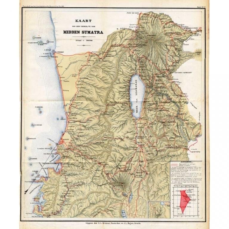 Kaart van een gedeelte van Midden Sumatra - Stemler (1875)