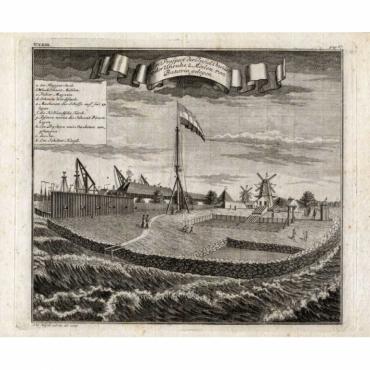 Ein Prospect der Insul Onrust oder Unruhe 2 Meilen von Batavia gelegen - Heijdt (1739)