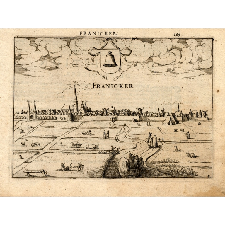 Antique Print of Franeker by Guicciardini (1613)