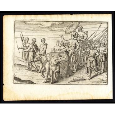 Pl.40 Afteeckeninghe van de Koningh te Bali sittende op sijn Waghen - Houtman (1646)
