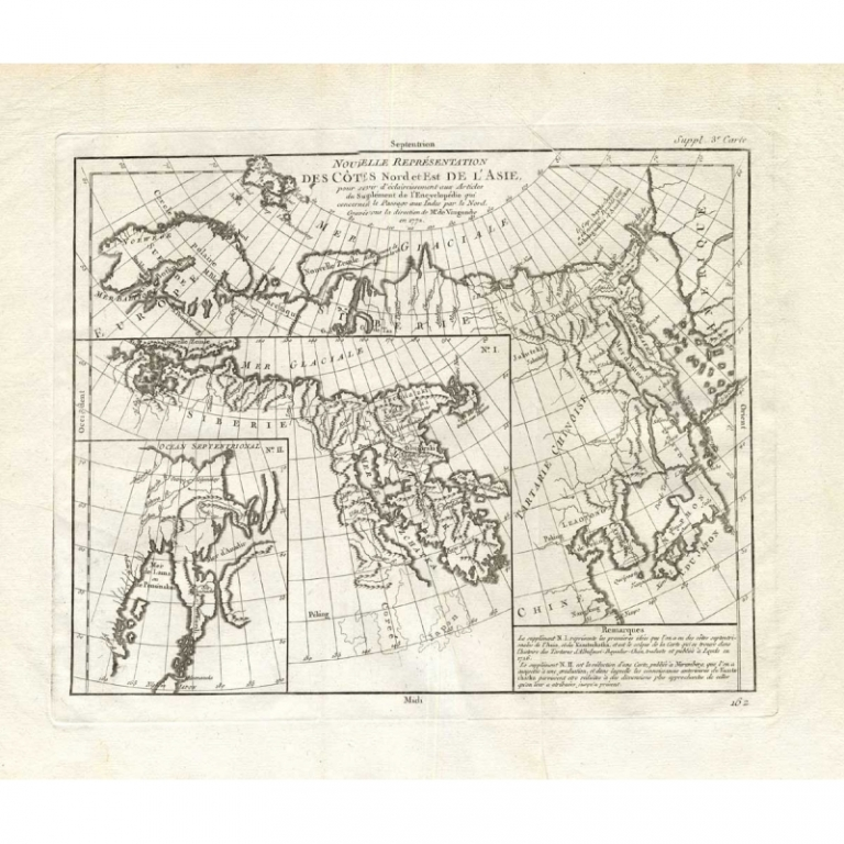 Antique Map of the Coast of North and East Asia by Diderot (1751)