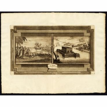 Funerailles cruelles des Rois de Java - Chateau flottant sur l'eau - Van der Aa (1725)