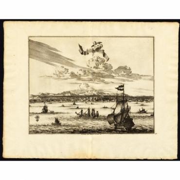 Ville d'Amboine, capitale des Iles Molucques - Van der Aa (1725)