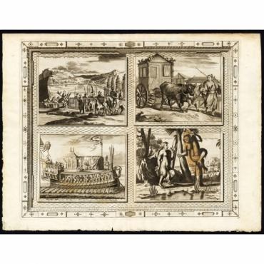 Pl.45 Japonais voyageant a cheval au litiere (..) - Van der Aa (1725)