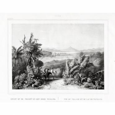Pl.XXXIX Celebes - Gezigt op de negorij en het meer Tondano - Van de Velde (1844)