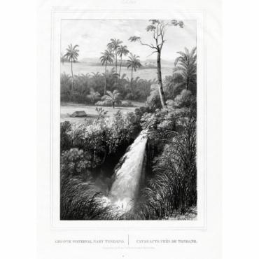 Pl.XXXVIII Celebes - Groote Waterval naby Tondano - Van de Velde (1844)