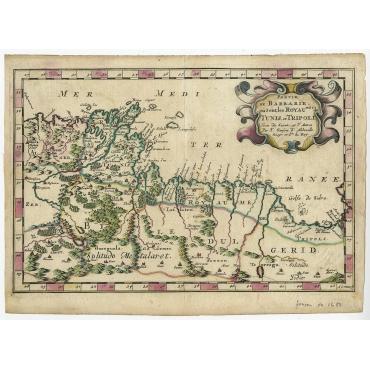 Partie de Barbarie, ou sont les Royaumes de Tunis, et Tripoli - Sanson (1652)