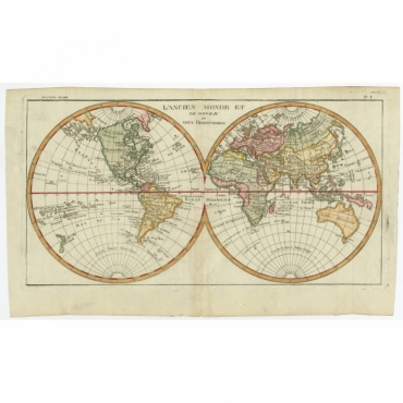 L'Ancien Monde Et Le Nouveau en Deux Hemispheres - Bonne (c.1780)