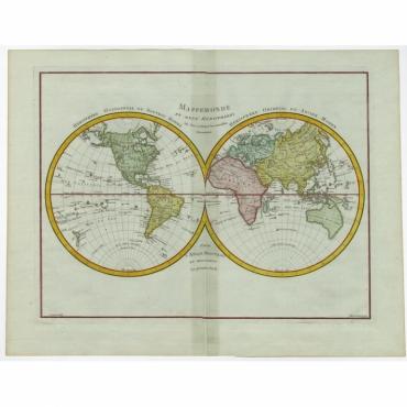 Mappemonde en Deux Hemispheres ou l'on a Indique les Nouvelles Decouvertes - Tardieu (c.1780)