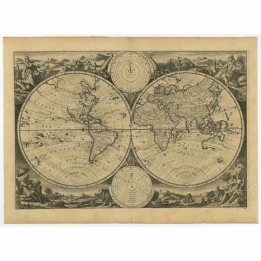 Untitled World Map Double Hemisphere - Van Jagen (c.1748)