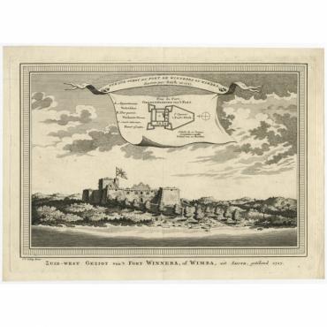 Zuid-west Gezigt van't Fort Winneba (..) - Van der Schley (1747)
