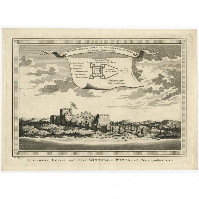 Antique Print of Fort Winneba by Van der Schley (1748)